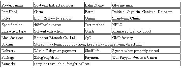 Supply Natural Soybean Extract Powder