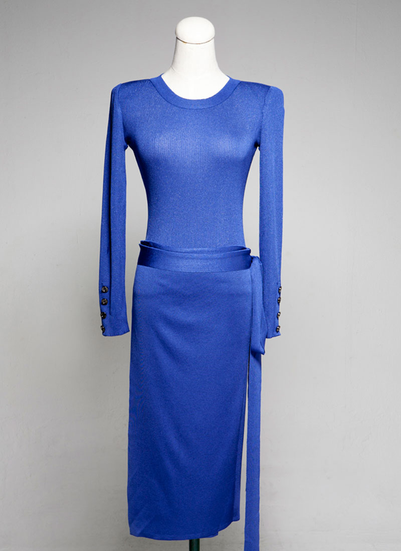 Long Sleeve Knit Dress designed with separ...