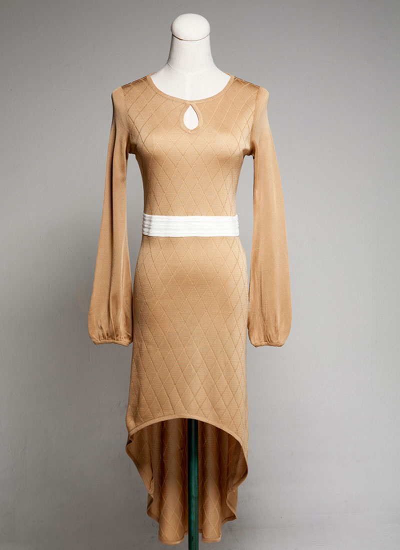 Long Sleeve Knit Dress Designed With White Manufacturerslong Korea