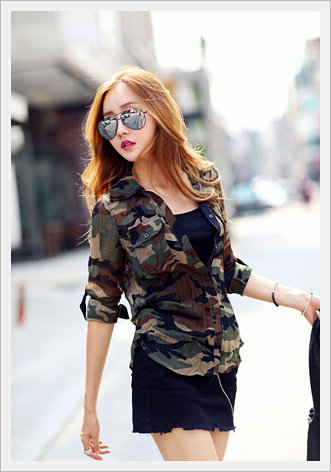 See-through Camo Shirt[Wings Co.]