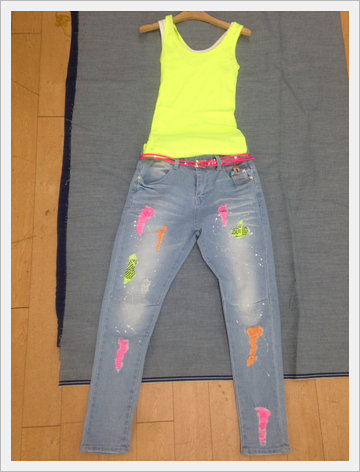 Fluorescent Painting Baggy Pants