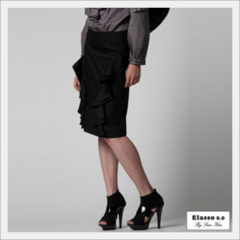 Ruffled Pencil Skirt  Made in Korea