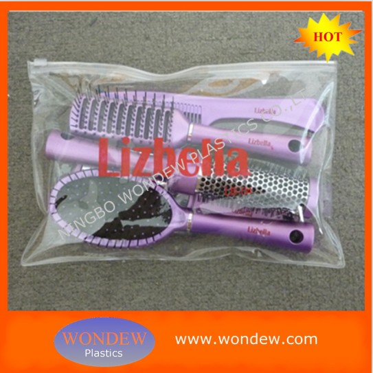 Plastic hair brush set packing in PVC bag