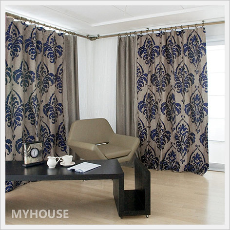 MyHouse Curtain Blue Damask