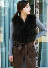 Fur knit Long Waistcoat  Made in Korea