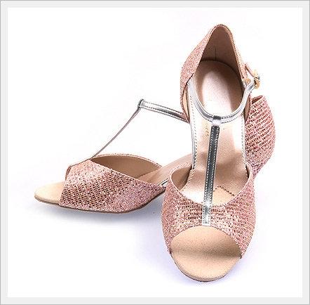 202 Golden Pink Glittering Platform Shoes