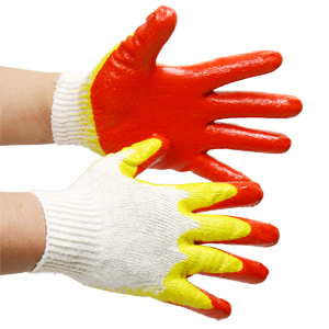 Yellow double-coated gloves
