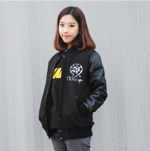 NEW Leopard G Stadium Jacket (gray) BLACK  Made in Korea