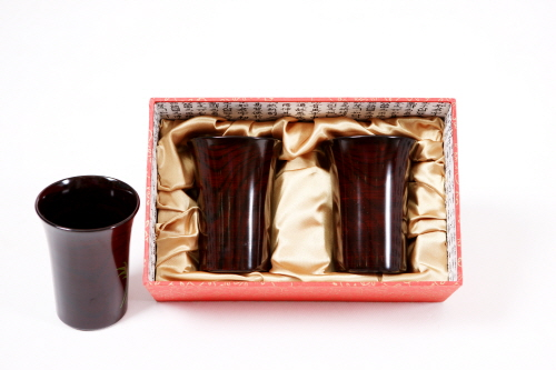 Lacquer varnished couple cups  Made in Korea