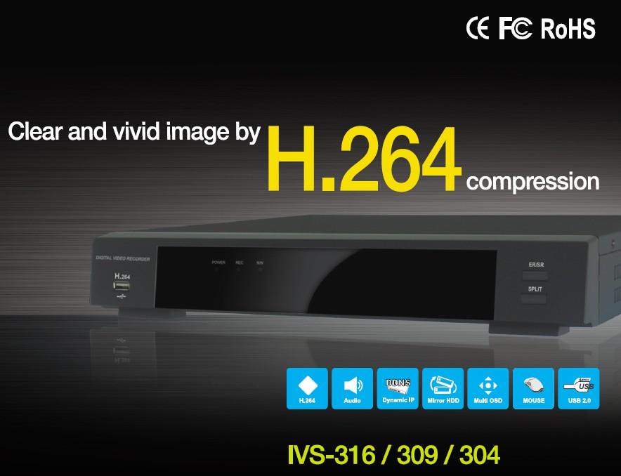 H.264 IVS-304/309/316 DVR  Made in Korea
