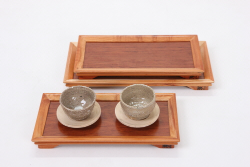 Cedrela Snensis Tray for Two Teacups  Made in Korea