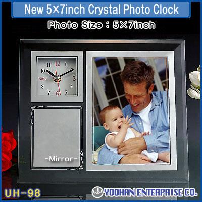 UH-98 5×7 Inch Crystal Photo Clock  Made in Korea